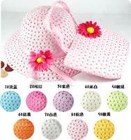 2014 NEW girls summer hats new Straw Baby Sun hat with Bag, Kids Summer Hat, Big Brim Sunbonnet, children straw hats