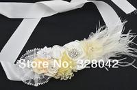 Min order 1 pcs 2014 Wedding dress bridesmaid sash flower girl sash Maternity sash belt lace flower sash Belt girls accessories