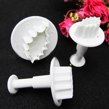 Special low New 3Pcs/set Christmas Rose LEAF Cake Icing Fondant Plunger Cutter Pastry DIY Mold(China (Mainland))