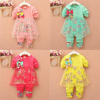Retail factory,4 color,Age1-5,2pcs set=dress+pants,girl's Autumn baby long-sleeve lace flower,children's clothing, freeshipping