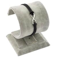 Single Rope 8 Infinity Silver Charms Blue Black Brown Cord/Velvet Wrap Bracelet