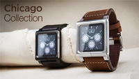 For ipod nano 6 Aluminum lynk Watch Band & Chicago Collection Real Leather Multi-Touch Watch Band Wrist Strap For IPod Nano 6