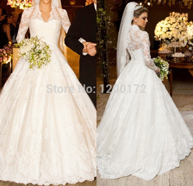 Real Wedding Dress Ball Gown Long Sleeve Wedding Dress 2014 Bridal Gown Lace Wedding Dress(China (Mainland))