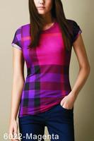 Hot Classic 2014 Women Fashion Brand Designer Short Sleeve big Plaid T-shirt Shirts,High Quality Check Tops Blouses Shirt #6022