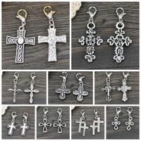 Wholesale 20PCS Fashion cross Charms Tibetan Silver Tone Cross Jesus God Theme Lobster Clasp Charms Pendant