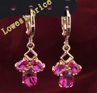 Cute earrings Rose 18k gold plated Ruby Anniversary fashion Jewelry Crystal Drop Earrings JE595