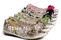 Free shipping Vintage sweet flowers sandals straw braid bottom flat bottom open toe shoe female shoes linen straw braid