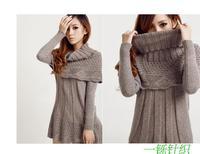 2014 Hot Sale Women's Sweater Dress Medium Long Slim o-neck Basic Sweater New Style Knitted Sweater