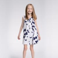 New 2014 Free Shipping summer baby girls Sleeveless dresses Children kids butterfly printing dress 6pcs/lot