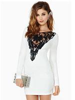 European 2015 spring fashion sexy lace Slim long sleeve dress bodycon women dresses 47