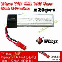 F05092 20pcs 3.7V 600mAh Lipo Battery Akku for WLtoys V929 V959 V969 V979 V989 V999 RC Beetle UFO Helicopter