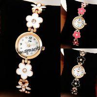 60pcs/lot Flower Bracelet JW Ladies Quartz Watch Crystal Hours Women Rhinestone Dress Watches Analog Fashion Bangle Wrist Watch