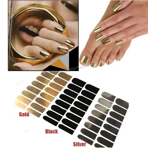 Free Shipping 12sheet/lot (Mixed Colors OK) Fashion Sold Gold Metallic Nail Stickers Black Nail Decals Silver Minx For Nail Art(China (Mainland))