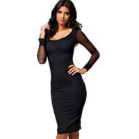 Summer Casual Latest 2014 Sheer Net Long Sleeve Black Midi Dress Women Clothing Free Shipping
