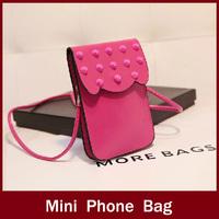 2014 rivet mobile phone bag mini bag one shoulder coin purse wallet mobile phone female cross-body bag