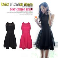 11.11 Sale-New 2014 Women's Nightclub Sexy Chiffon Party Dress Sleeveless Dress 2 colors Free Shipping