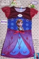 5pcs/lot Baby girls dress kids children short sleeve FROZEN Anna Elsa girl princess queen dresses 0313 sylvia