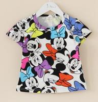 Baby girls T-shirts kids children short sleeve t shirt minnie cotton boys tee shirts 0329 sylvia cf