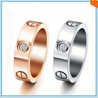 Brand wedding jewelry forever lovers 6mm screw CZ diamond gold rings for men women 18K Gold