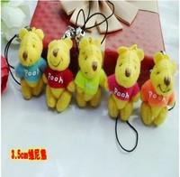 Free shipping Fashion Pendant 20pcs/lot  3cm  Mini Joint Bear Bare Joint Bear Doll Cell Phone  Cartoon Plush Stuffed Toy Doll