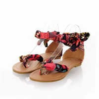 Upgrade Quality Free Shipping 2014 Flower Print flats for women Summer Sandals Ribbon Sweet Ladies fashon Silk Leisure shoes