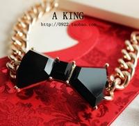 Fashion mj black three-dimensional bow exaggerated bracelet 0408