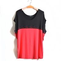 3Color 4XL-6XL Plus Size Casual Women Lace T-Shirt Tee Top Big Large Size Oversize XXXXL XXXXXL XXXXXXL 2014 New Fashion Summer