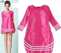 Shining Dress New 2014 Casual Dress Women Summer Dress Vestidos Round Neck Half Sleeves Loose  Fuschia Tunic SS14D016