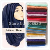 Plain Glitter Sparkle Hijab Maxi Shimmer Shawl Women Scarves