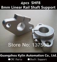 Hot Sale! 4pcs SHF8 horizontal linear shaft support,8mm Linear Rail Shaft Support XYZ Table CNC SHF Series Rail Shaft