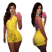 2014 European and American new bright yellow halter backless leotard shorts DBB047 KM129