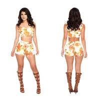 2014 new European and American big orange flower piece suspenders shorts DBB031 KM097