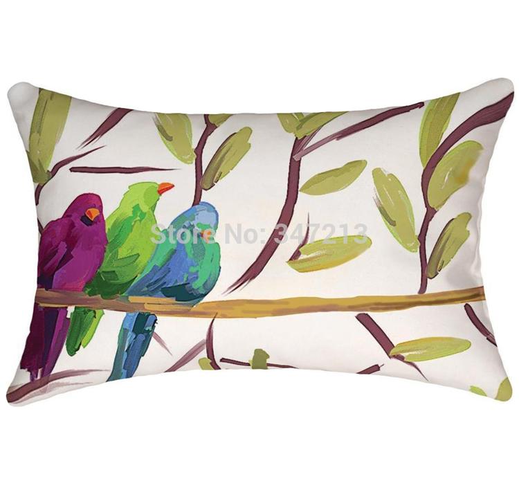 2 peças/lote preço de atacado abstrato ramos de aves caso de impressão travesseiro capa de almofada(China (Mainland))