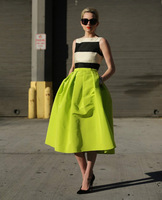 Neon green skirts vintage retro quality high waist flared ball gown skirt mid-calf women pleated umbrella skirts 16 color