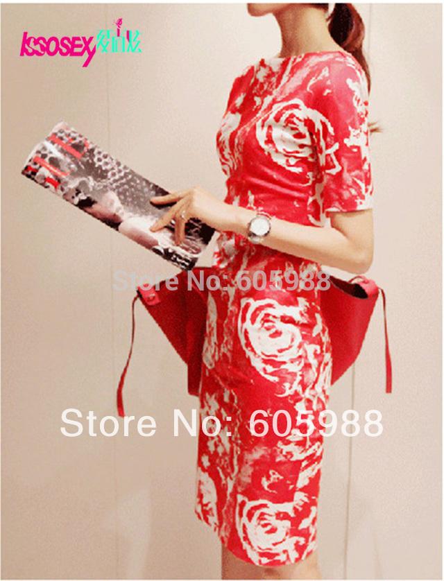 Fashion women clothing 2014 new spring summer women dress boat neck red/black dress short-sleeved print dresses plus size xxl(China (Mainland))