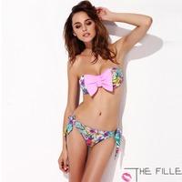 2015 Hot Sales New Bow hit the Bra Bikini Set  Push Up Women Fashion Sexy Swimsuit Ladies' Swimwear Beachwear  Free Shipping