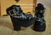 Cool BB Chain Rivet Black Boots for BJD 1/6 YOSD Luts DOD AS DZ Doll Shoes