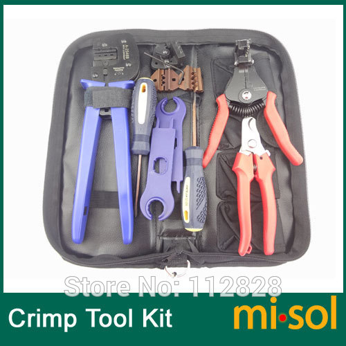 Kit of PV Crimper for MC3 MC4 Tyco Connector, PV cable cutter, crimp tool(China (Mainland))