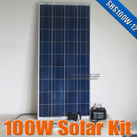 100W Solar power system 12V DC input, 100 Watts solar kit for home 12VDC led lamp with 5V USB multi connect mobile phone charger