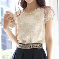 Chiffon shirt female short-sleeve 2014 spring plus size embroidery basic blouses women clothing summer lace tops Free Shipping