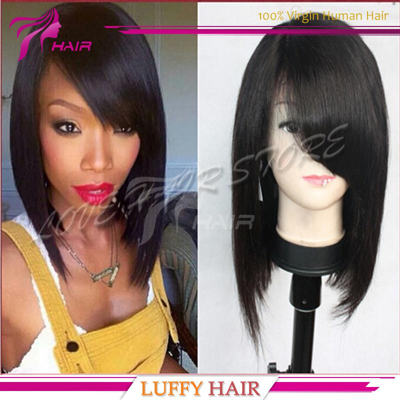 Cheap human hair bob wigs for black women glueless virgin brazilian