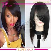 Cheap human hair bob wigs for black women glueless virgin brazilian lace front bob wigs with bangs short bob cut wigs on sale