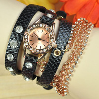 2014 new fashion leather long strap ladies luxury brand watch Popular Hawaiian Style Sparkling Rhinestone watch women W1626