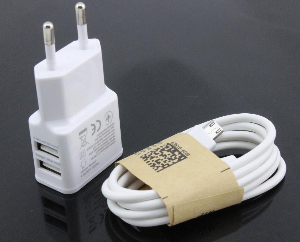 White 1set (1pcs 5V 2ADual USB Wall Charger Adapter EU Plug Power 2 Port + 1pcs Micro USB Data Sync Cable for Samsung )#ZH64(China (Mainland))