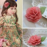 4pcesKids Girls Flowers Headband Lace Bowknot Flower Hair Clips Ribbon Headdress Hair Wear 4 Colors Drop Shipping Free Shipping
