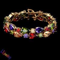 18K Gold Plated My Mona Lisa Multicolor CZ stones Cluster Bracelet
