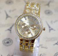 2014 High Quality Geneva Brand Full Steel Casual Watches Women Ladies fashion Dress Quartz wristwatches