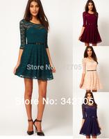 New 2014 Sex Women Casual Dress Lace O-Neck Girl Vestidos Lace Brand Mori Girl Summer Dresses 2014 Plus Size Women Dress