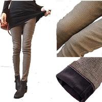 Plus velvet thickening autumn winter boot cut pocket jeans slim plaid sports trousers skinny pencil pants female trousers S-XXXL