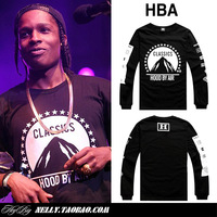 Hot Sale 2015 Hood by air hba been trill ap a rocky five-pointed star T Shirts Men Women Hip Hop O-neck long-sleeve T-shirt tees